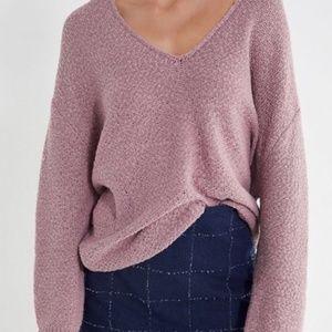 UO Coconut Reversible V-Neck Tunic Sweater